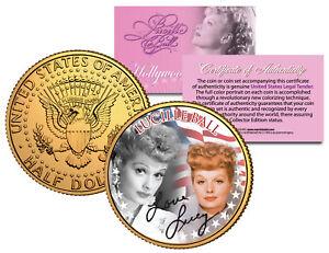 LUCILLE BALL * Americana * JFK Half Dollar U.S. Coin 24K Gold Plated I LOVE LUCY