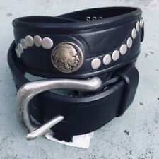 Honest Black Leather Silver Studded Indian Coin Belt Women's S