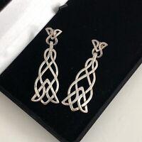 Vintage Sterling Silver 925 Earrings Boho Dangly Large Statement Celtic Knot 90s