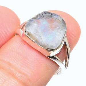 Rainbow Moonstone Gemstone 925 Solid Sterling Silver Jewelry Ring Size 7.5