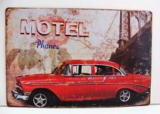 """Plaque Métal Tôlée Vintage Voiture Américaine """"Motel Phones"""" 20 X 30 cm Neuf"""