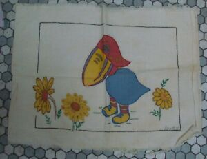 Cute! Vintage Embroidered & Tinted Kansas Jayhawk & Sunflower Pillow Cover