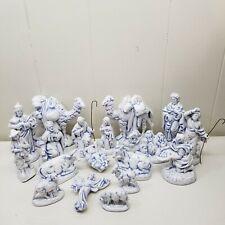 Atlantic Mold 18 Pc Nativity White Blue Glazed Christmas Holiday Decor Figurines