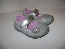 SURPRIZE STRIDE RITE KATELYN TODDLER GIRLS SHOES MARY JANE size 6 SILVER FLOWER