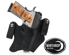 1911 4.25 Inch Barrel Lasergrips NO Rail IWB dual snap Holster R/H Black