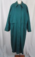 Womens Towne London Fog Cape Top Wool Lined Cinch Waist Spy Trench Coat 12 Green