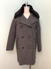 NEW Soia & Kyo Gray Wool Coat Black Fuax Fur Trim M Leather Trim Double Breast