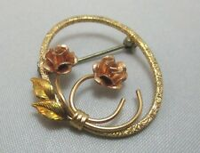 KREMENTZ OVAL PIN BROOCH WITH 2 FLOWERS AND LEAVES **