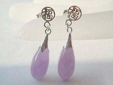 New Fashion Purple Jade Drop 18KWGP Fortune Stud Dangle Earrings