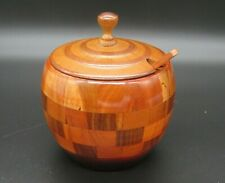 Round Turned Wooden Pot Trinket Nut Sugar Spice Bowl Salt Box With Lid Spoon