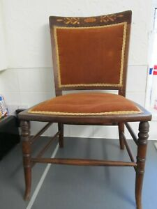 ANTIQUE MAHOGANY SINGLE CHAIR LADIES BEDROOM DRESSING TABLE DESK CHAIR INLAID