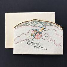 Vintage Hallmark Greeting Card~Stork & Baby~Birth Announcement~1920s~Art Deco