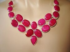 NATURAL RAW CUT RUBY 925 SILVER HANDCRAFTED NECKLACE COLLAR
