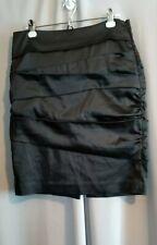 White House Black Market Black Satin Tiered Formal Skirt 12