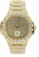 Men Fully Ice Watch Bling Oblong Rapper Simulate Lab Diamond Luxury Gold Band