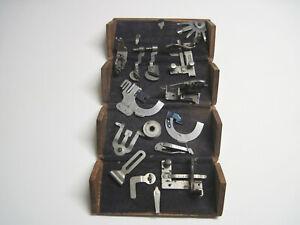 1889 patent Antique Singer Sewing Machine Folding Wood Puzzle Box w/ Attachments