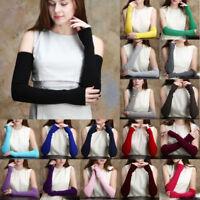 Wool Womens Mittens Men Knit Pair Arm Wrist Fingerless Gloves 1 Warm Long Winter
