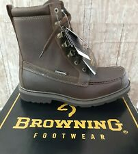 Browning Waterproof Featherweight Moc Toe Brown Leather Mens Size 9 Medium Boots