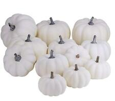 12pcs Halloween Harvest White Artificial Pumpkins Fall Thanksgiving Decorative