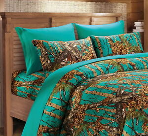 TEAL CAMO SHEETS!!  QUEEN SIZE BEDDING 6 PC SET CAMOUFLAGE BLUE GREEN MICROFIBER