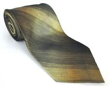Martin Wong 100% Silk Mens Tie Hand Made Ombre Striped 58 x 4 Gold Brown Black