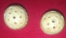 Two Vintage Carved Chinese Round Bead Beads 1""