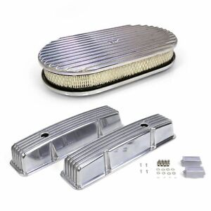 Pair of Short Finned SBC Chevy Valve Covers and 15 Inch Full Finned Air Cleaner