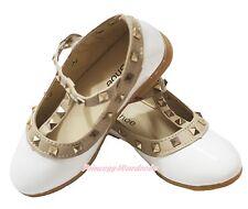 White Enamel Leather T Strap Stud Rivet Slip On Kid Girl School Party Shoes 8816