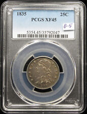 1835 CAPPED BUST QUARTER B-5 PCGS XF45
