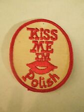 Vintage Kiss Me I'm Polish Lips Novelty Joke Embroidered Sew On Patch