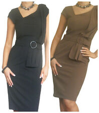 Ladies Work Dress Business Midi Bodycon Size 10 12 14 16 18