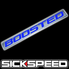 CHROME/BLUE METAL BOOSTED ENGINE RACE MOTOR SWAP BADGE FOR TRUNK HOOD DOOR