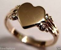 Size J GENUINE 9CT 9KT ROSE GOLD 375 HEART SIGNET RING *FREE EXPRESS POST IN OZ