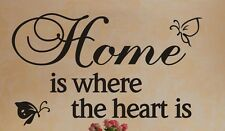 Home Where Heart Is Butterflies Wall Quote Kid Nursery Decor Vinyl Decal Sticker