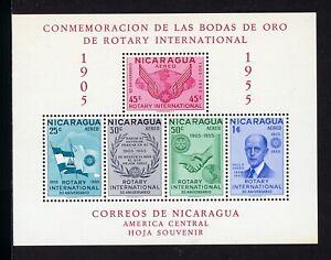 Nicaragua Scott #C362a MNH S/S Rotary Int'l RED LETTERING MI BL #83B CV$9+ os1