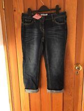 Fat Face Washed Indigo Slim Straight Crop Jeans 8 R Bnwt 30091 low rise darkwash
