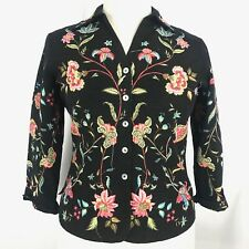 Silkland Women Shirt 3/4 Sleeve Silk Floral Embellished Lined Button Front Sz L