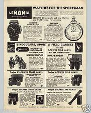 1948 PAPER AD Lemania Pocket Chronograph Wrist Stop Perfex 8 Movie Camera 8MM
