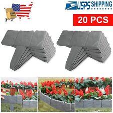 20pcs Home Garden Border Edging Plastic Fence Panel Stone Lawn Yard Flower Bed