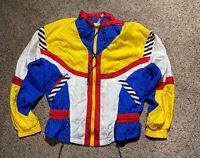 Vintage 80s 90s Windbreaker Track Jacket Color Block Womens SZ M RE Sport Lined