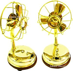 Vintage Nautical Polished Brass Collectible Working Table Fan With 3 Blades