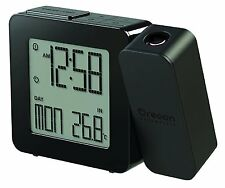 Oregon Scientific Projection Atomic Clock + Indoor Temperature (Black), NEW