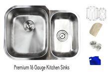 "29"" Stainless Steel 16 Gauge Undermount Double Bowl 60/40 Kitchen Sink Combo"