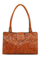 Patricia Nash Rienzo Burnished Tooled Leather Satchel Gold Brown New $229