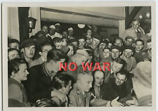WWII GERMAN WAR PHOTO POLITICAL LEADER DR. ROBERT LAY MEETING W FACTORY LABORS+