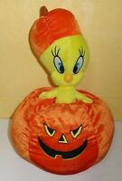 "Tweety Halloween Pumpkin Warner Bros Looney Tunes Plush Stuffed Toy 12"" NEN Rare"