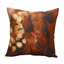 GT- Animals Dogs Dachshund Linen Cushion Cover Throw Pillow Case Home Sofa Decor