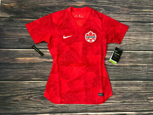 Women's Nike Breathe Red Canada Short Sleeve Soccer Football Jersey Sz Small NEW