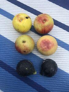 (6) Vtg Antique Carved Fruit Italian Alabaster Stone Fruit Marble Primitive