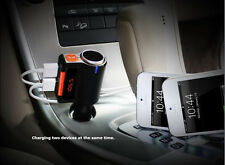 Bluetooth Fm Transmitter Mp3 Usb Car Charger w Cigar Lighter Splitter for iPhone